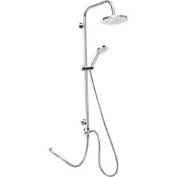 CORNAT Duschsystem ROUND NEO Duschsystem rund chrom, Höhe 8,4 cm, Set, Anitkalk-Noppen