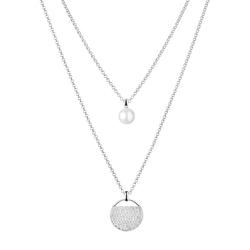 Doppelte Halskette aus Silber mit Perle und Zirkonia Marquis