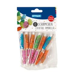 STYLEX® Cocktail-Schirmchen, Cocktail-Schirmchen in verschiedenen Farben, 1 Beutel = 12 Stück