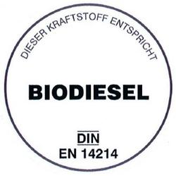 Biodiesel-Aufkleber