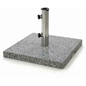 Sonnenschirmständer 21 kg Granit poliert grau eckig Edelstahl Rohr 40x40x5cm