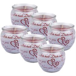 HS Candle Duftkerze (6-tlg), Kerze im Glas, Spruch-Kerze 6er Pack mit ca. 22 Std. Brenndauer, Höhe: 6cm, Ø7cm grau