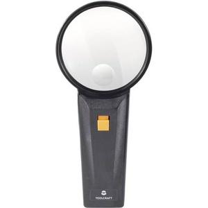 TOOLCRAFT Handlupe mit LED-Beleuchtung Vergrößerungsfaktor: 2 x, 4 x Linsengröße: (Ø) 75mm Leuc