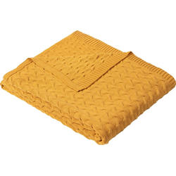 Wolldecke Strickdecke Somero, IBENA, Strickmuster gelb