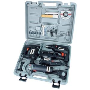 Brueder Mannesmann Werkzeuge Elektrogeräte-Set Elektrogerätesatz, 4-tlg. silberfarben
