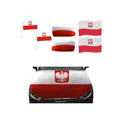 Sonia Originelli Fahne Auto Fan-Paket Haubenfahne Fensterfahnen Spiegelfahnen Magnetflaggen Polen Poland Polska, Fanartikel für das Auto in Polen-Farben Fanset-10XXL