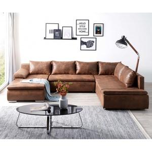 Couch Abilene Braun 325x230 cm Ottomane variabel Schlaffunktion Wohnlandschaft