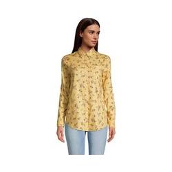 Strukturierte Baumwoll-Tunika mit Rollärmeln, Damen, Größe: M Normal, Gelb, by Lands' End, Gelbe Buttercreme Floral - M - Gelbe Buttercreme Floral