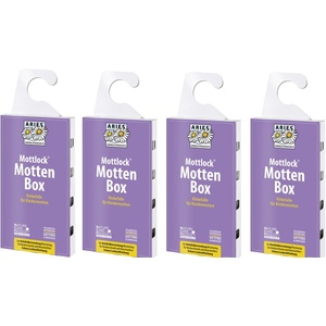 Aries Mottlock Mottenbox, Klebefalle Gegen Kleidermotten - Befallsüberwachung (Monitoring) Pheromon-Lockstoff, 4 x 1 Stück