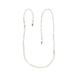 Gemshine Perlenkette Brillenkette für Sonnenbrille, Lesebrille - Rosenquarz und Zuchtperlen, Made in Germany silberfarben