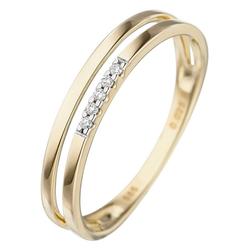 JOBO Diamantring, 585 Gold mit 5 Diamanten 56