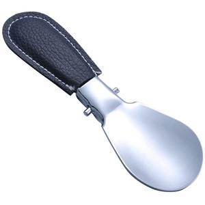Schuhlöffel faltbar Metall Reise Schuhlöffel Edelstahl silberfarben und schwarz Leder 12,2 cmx3.7 cm