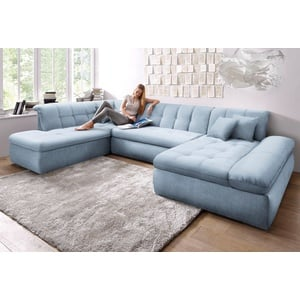 DOMO collection Wohnlandschaft NMoric, im XXL-Format, wahlweise mit Bettfunktion und Armlehnenverstellung blau Wohnlandschaften Sofas Couches