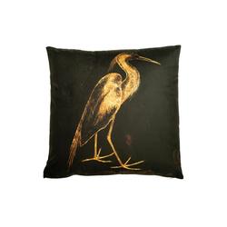 Cosy Home Ideas Dekokissen Kissen Kranich Samt gold grün 45x45cm abziehbar, abziehbar & waschbar