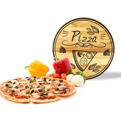 Sendez Pizzateller Pizzateller mit Pizza-Motiv ø30cm drehbar Holzteller Drehteller Käseteller Speiseteller