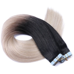 Tape In - On Hair Extensions - # 1B/GREY OMBRE - 60cm - 10 Tressen je 4cm Breit / 2,5g - 100% Remy Echthaar Haarverlängerung/Extention mit Klebeband Tressen by NOVON Hair Extentions