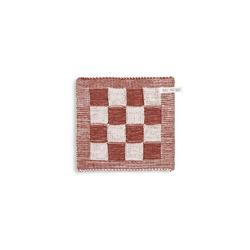Knit Factory Geschirrtuch Topflappen Block Ecru/Rost, (Handtuch)