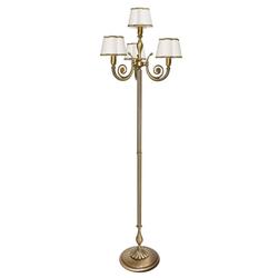 Licht-Erlebnisse Stehlampe OLIMPO Stehleuchte aus Messing bronziert Jugendstil E14 Stoff Wohnzimmer