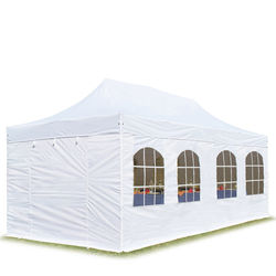 Toolport Faltpavillon 3x6m Long-Life PVC 620 g/m² weiß wasserdicht Faltzelt, Klappzelt