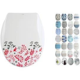 MSV Design WC Sitz abnehmbar, Absenkautomatik, Fast Fix/Schnellbefestigung, Befestigung mit Knopfdruck, Toilettensitz WC Deckel Klobrille''Floral'' Ro