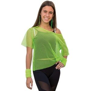 Oblique Unique® Netzshirt Netztop Netz Hemd Netzoberteil Fischnetz für Damen Frauen Oberteil 80s 80er Jahre Kostüm Motto Party Größe 38 - 42 Neon Grün Pink - Farbe wählbar (Neongrün)