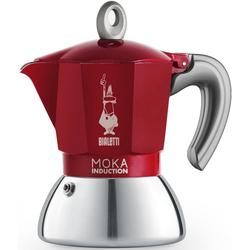 BIALETTI Espressokocher Moka Induktion, 0,09l Kaffeekanne, Induktionsgeeignet rot 0,09 l