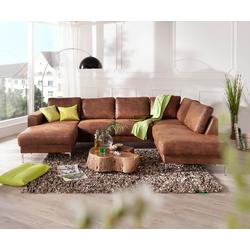 DELIFE Designer-Wohnlandschaft Silas 300x200 Braun Antik Optik  Ottomane Rechts, Wohnlandschaften, Designer Sofa