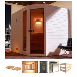 weka Sauna Lars Eck 3, BxTxH: 238 x 189 x 203,5 cm, 38 mm, 7,5 kW Ofen mit ext. Steuerung