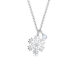 Elli Collierkettchen Schneeflocke Mondstein Kristalle Silber silberfarben