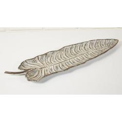 Wanddeko Metall Blatt beige