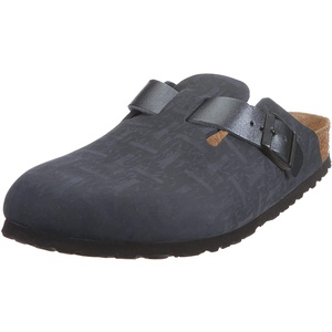 Birkenstock Unisex Boston Leather Clogs, Schwarz, 37