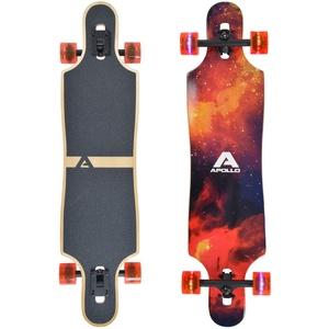 """Apollo Longboard Redshift 40"""" Komplettboard mit LED-Wheels und High Speed ABEC Kugellagern, Drop Through Freeride Skaten Cruiser Board"""