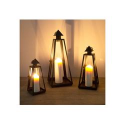 Wohaga Laterne 3tlg. Laternen-Set Windlicht mit Henkel H54/40/30cm