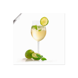 Artland Wandbild Weinglas - Hugo, Getränke (1 Stück) 40 cm x 40 cm