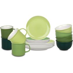 Könitz Kombiservice Elements, (Set, 16 tlg.), handdekoriert grün Geschirr-Sets Geschirr, Porzellan Tischaccessoires Haushaltswaren