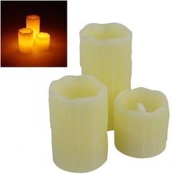 Echtwachskerzen im 3er Set, LED Kerze mit Flackerlicht