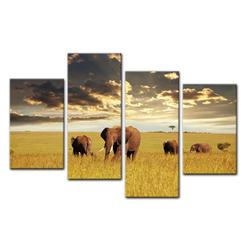 Bilderdepot24 Leinwandbild, Leinwandbild - Elefanten 120 cm x 80 cm