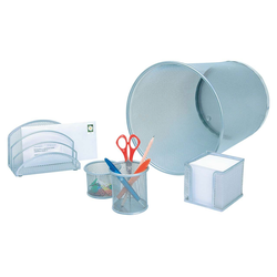 Office-Set mit Papierkorb Metall silber 5-teilig