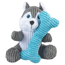 Duvo+ Hundespielzeug Plüsch Husky mit Knochen grau/blau