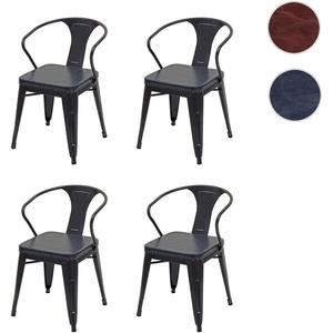 4x Esszimmerstuhl HWC-H10d, Stuhl Kchenstuhl, Chesterfield Metall Kunstleder Industrial Gastronomie ~ schwarz-grau