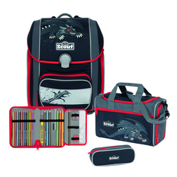 Scout Genius Schulranzen-Set 4tlg. black dragon