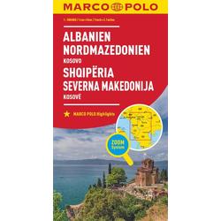 MARCO POLO Länderkarte Albanien Nordmazedonien 1:500 000