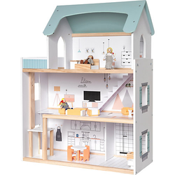 Puppenhaus mit Möbel + 3 Biegepuppen