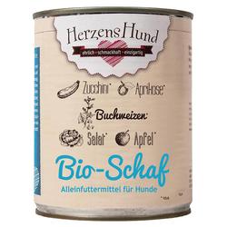 (6,37 EUR/kg) HerzensHund Bio Schaf mit Bio-Zucchini 800 g - 6 Stück