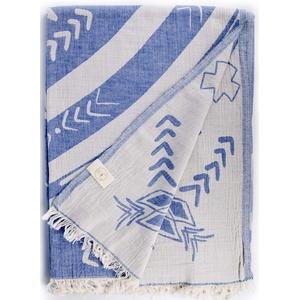 Bersuse 100% Baumwolle - Kona XXL Strandtuch Sofa-Überwurf - Grau-Blau