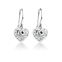 Nenalina Paar Ohrhänger Herz Ohrhänger Kristalle 925 Silber