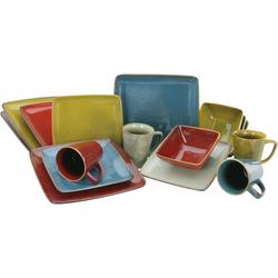 CreaTable Kombiservice Retro Style, (Set, 16 tlg.), quadratische Form bunt Geschirr-Sets Geschirr, Porzellan Tischaccessoires Haushaltswaren