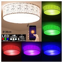etc-shop Smarte LED-Leuchte, Smart Home Decken Leuchte Alexa Tageslicht Lampe Google dimmbar im Set inkl. RGB LED Leuchtmittel