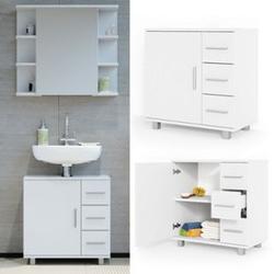 VICCO Waschbeckenunterschrank ILIAS Weiß Waschtisch Unterschrank Badezimmer