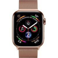 Apple Watch Series 4 (GPS + Cellular) 44mm Edelstahlgehäuse gold mit Milanaise Armband sandrosa